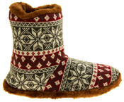 Mens Coolers Fairisle Faux Fur Lined Snowflake Boot Slippers Thumbnail 9
