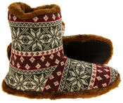 Mens Coolers Fairisle Faux Fur Lined Snowflake Boot Slippers Thumbnail 10