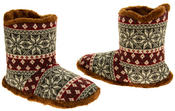 Mens Coolers Fairisle Faux Fur Lined Snowflake Boot Slippers Thumbnail 12