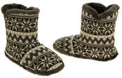 Mens Coolers Fairisle Faux Fur Lined Snowflake Boot Slippers Thumbnail 5