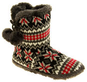 Ladies Coolers Knitted Faux Fur Slipper Womens Slouch Boots Thumbnail 2