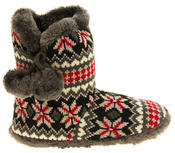 Ladies Coolers Knitted Faux Fur Slipper Womens Slouch Boots Thumbnail 3