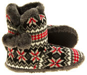 Ladies Coolers Knitted Faux Fur Slipper Womens Slouch Boots Thumbnail 4