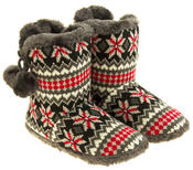 Ladies Coolers Knitted Faux Fur Slipper Womens Slouch Boots Thumbnail 5