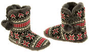 Ladies Coolers Knitted Faux Fur Slipper Womens Slouch Boots Thumbnail 6