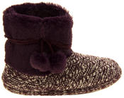 Ladies 'Coolers'  Warm Fur Lined Knitted Slipper Boots Thumbnail 8