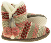 Ladies 'Coolers' Knitted Faux Fur LIned Boot Slippers Thumbnail 9