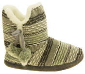 Ladies 'Coolers' Knitted Faux Fur LIned Boot Slippers Thumbnail 3
