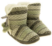 Ladies 'Coolers' Knitted Faux Fur LIned Boot Slippers Thumbnail 5