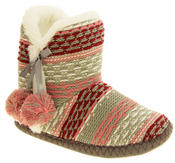 Ladies 'Coolers' Knitted Faux Fur LIned Boot Slippers Thumbnail 7