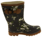 Womens Floral Calf Length Rubber Festival Wellington Boots Thumbnail 9