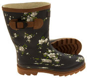 Womens Floral Calf Length Rubber Festival Wellington Boots Thumbnail 10