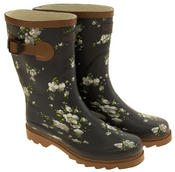 Womens Floral Calf Length Rubber Festival Wellington Boots Thumbnail 11