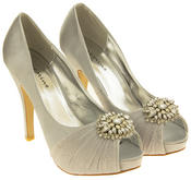 Womens Sabatine Satin Diamante Cluster Bridal Wedding Shoes Thumbnail 11
