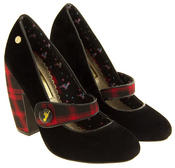 Ladies BABYCHAM Faux Suede Black and Red Tartan Mary Jane Block Heels Thumbnail 5