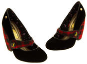 Ladies BABYCHAM Faux Suede Black and Red Tartan Mary Jane Block Heels Thumbnail 7