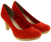 Ladies MARCO TOZZI Red Mid Heels Faux Suede Court Shoes Thumbnail 5
