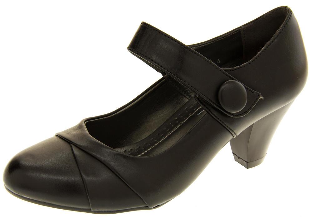 Womens Mid Heel Mary Jane Court Shoe