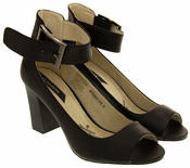Womens Elisabeth Peep Toe Ankle Wrap Court Shoe Thumbnail 4