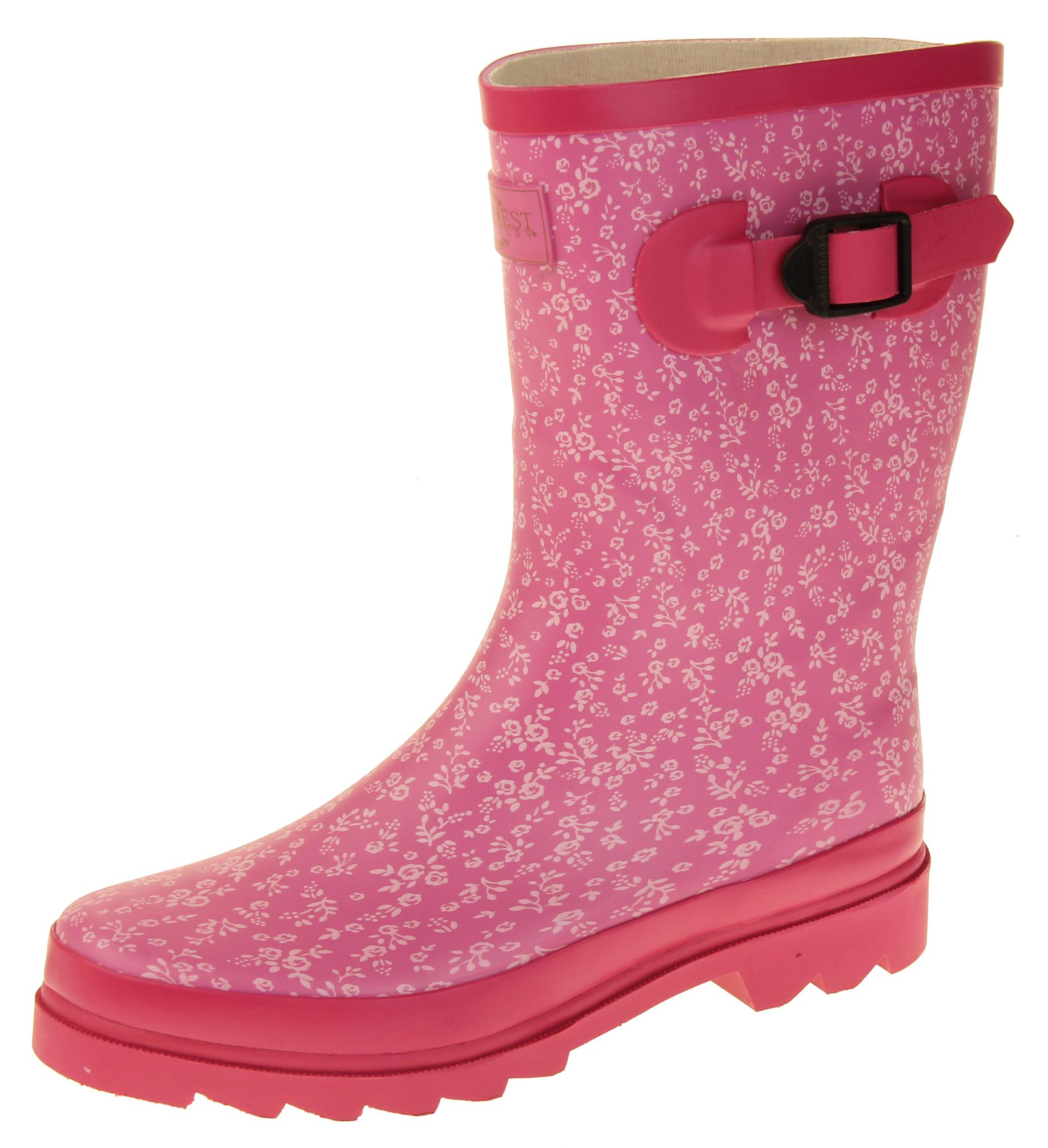 b662a5ab6c3 Womens Floral Calf Length Rubber Festival Wellington Boots