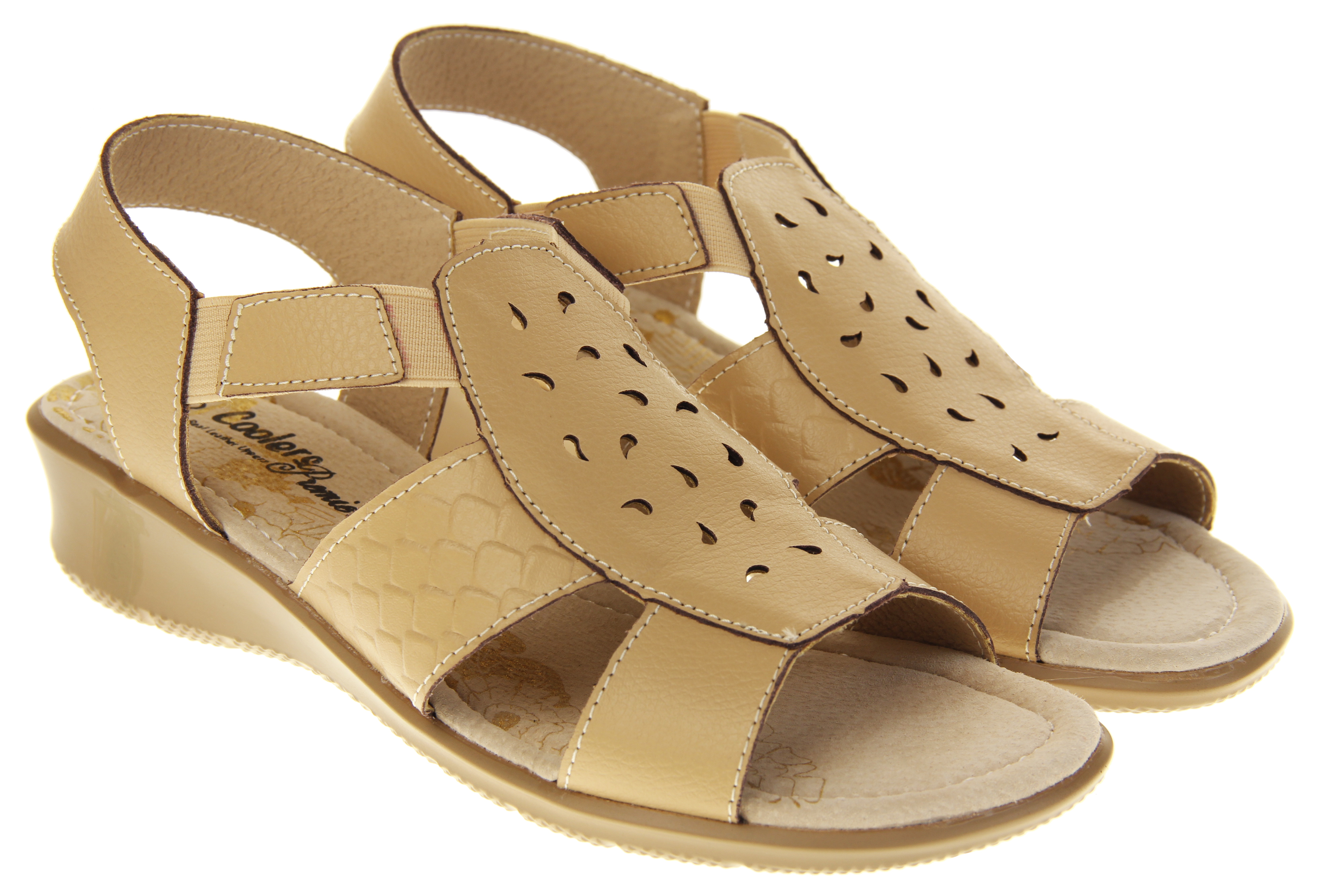 Holiday Coolers Premier Ladies Leather Cross Strap Casual Shoes Comfort