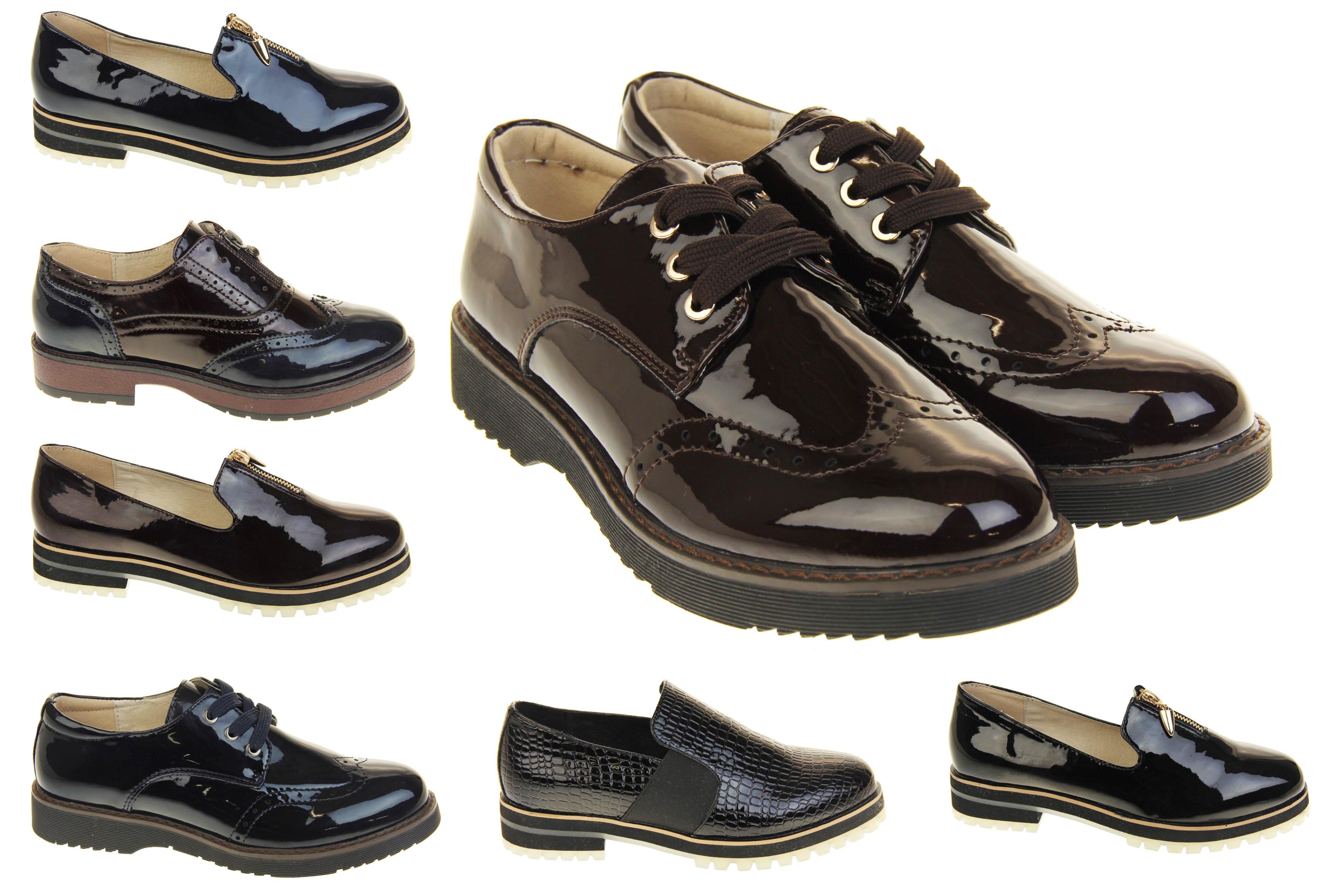 Ladies Keddo Flat Patent Oxford Loafers