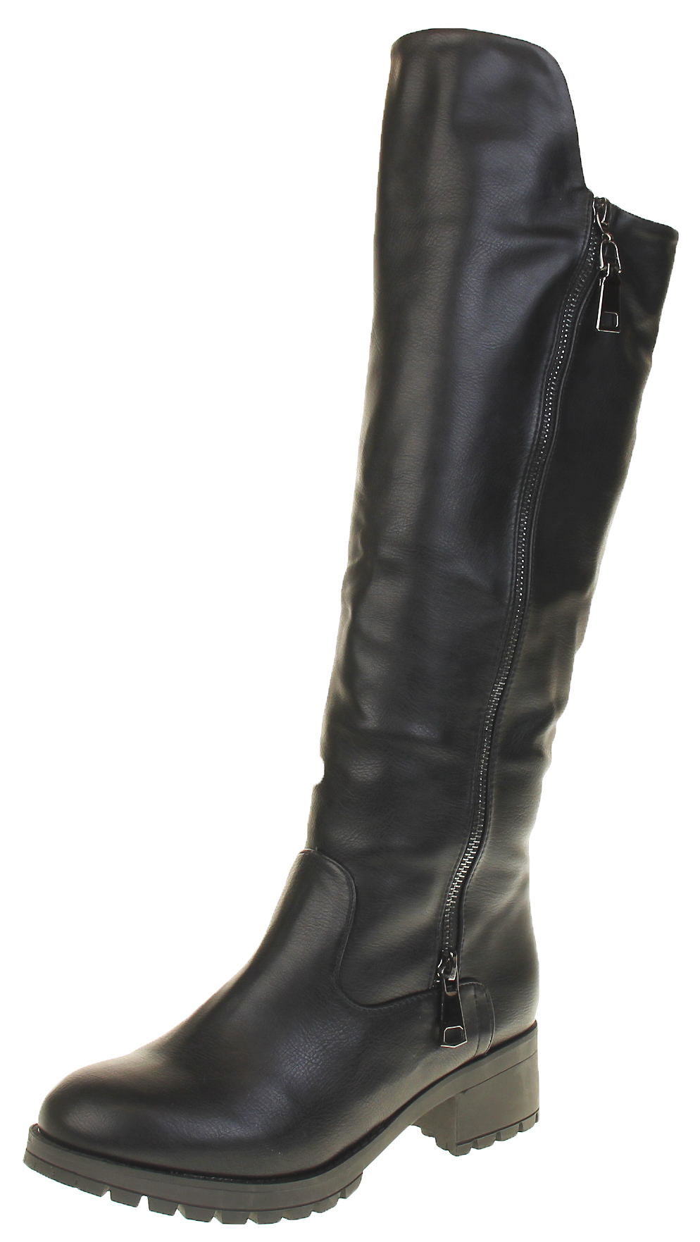 904b31b1410 Womens Ladies Black Betsy Faux Leather Faux Fur Lined Knee High Biker Boots