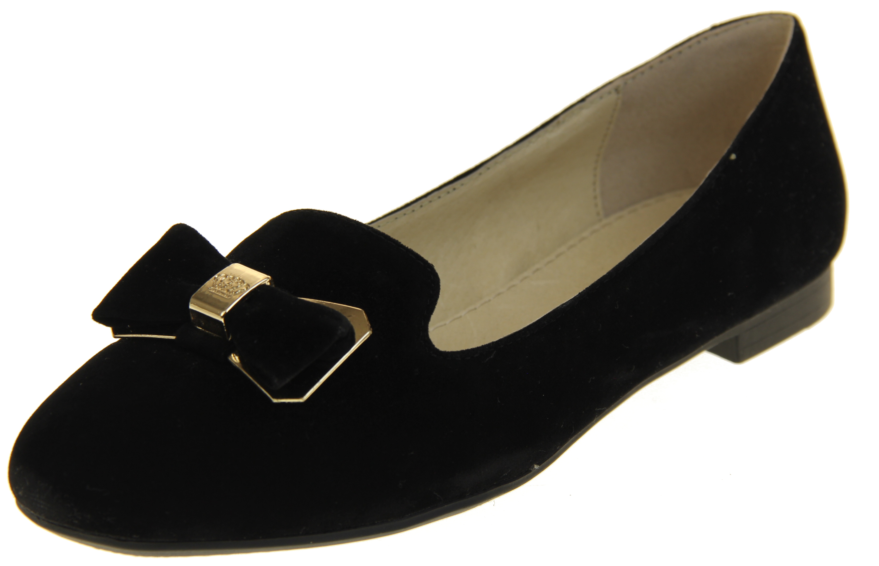Womens Ladies Keddo Leather Flat Black Smart Loafers Work Ballerinas