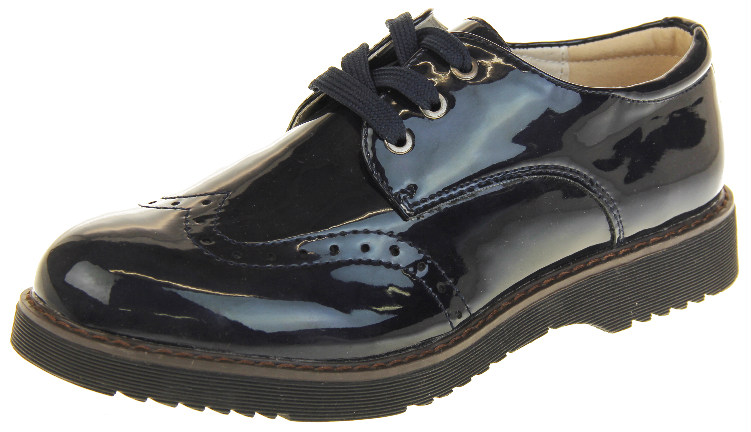 Womens Las Keddo Patent Leather Flat Loafers Brogues Work Office Shoes