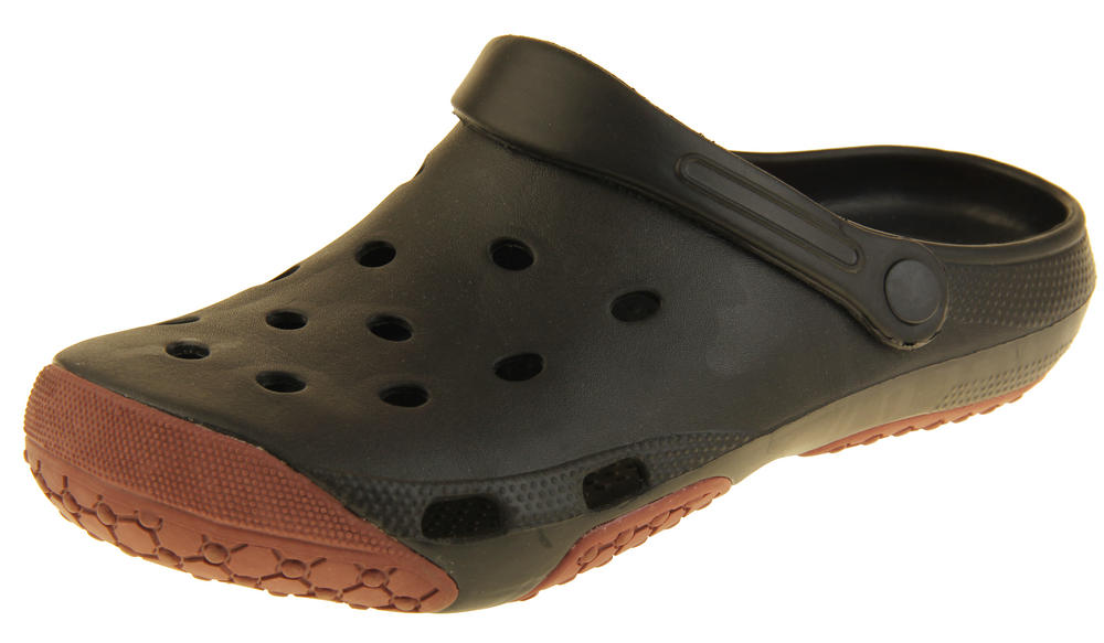 Mens Coolers Black Brown Summer Beach Holiday Slip On Clog Sandals
