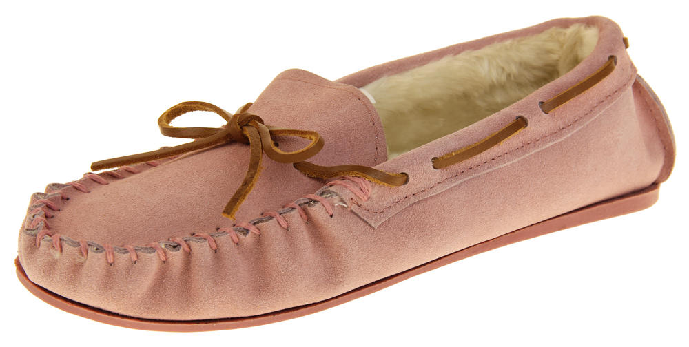 Womens Lodgemok Suede Leather Real Wool Moccasins Shoe Slippers