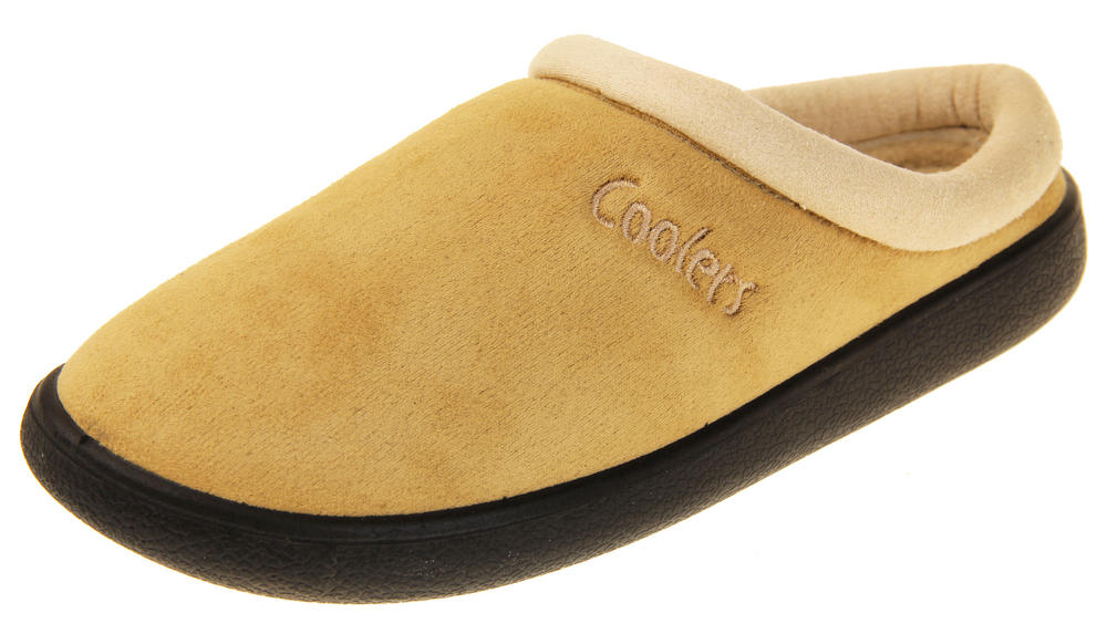 Womens Coolers Suede Effect Outdoor Sole Mules Slippers