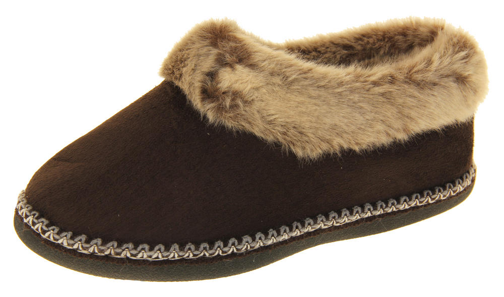 Womens Coolers Faux Suede Winter Warm Faux Fur Lined Slippers