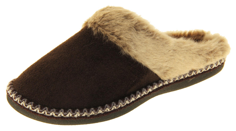 Womens COOLERS Faux Fur Lined Faux Suede Warm Mule Slippers