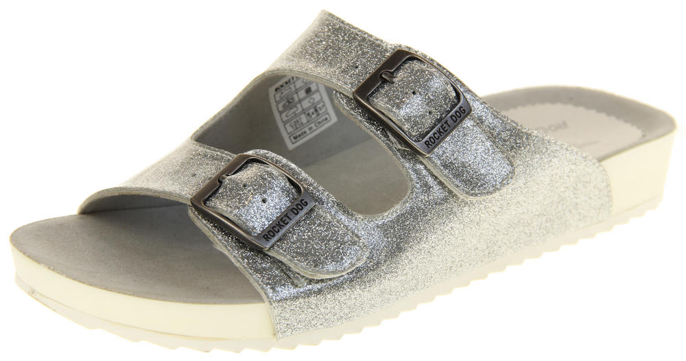 Womens Rocket Dog Holiday Mule Sandals with Double Buckle Straps
