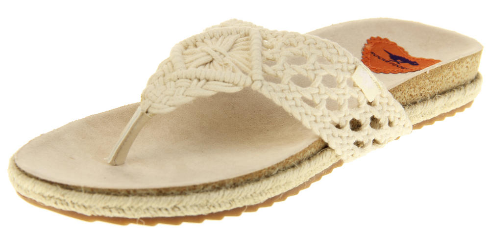 Womens Natural Rocket Dog Macrame Toe Post Mule Sandals Shoes