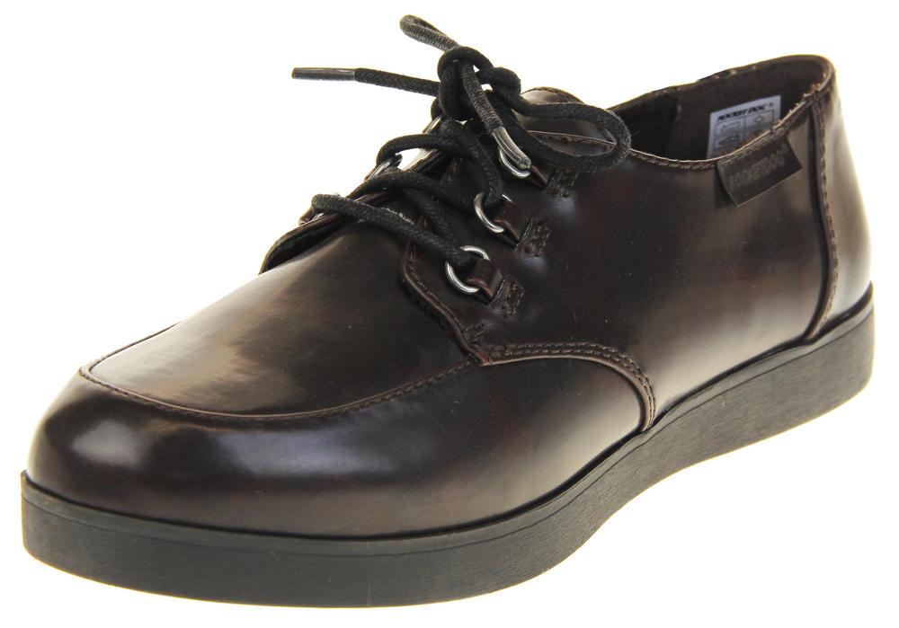 Womens Rocket Dog Burgundy Synthetic Leather Lace Up Platform Work Shoes