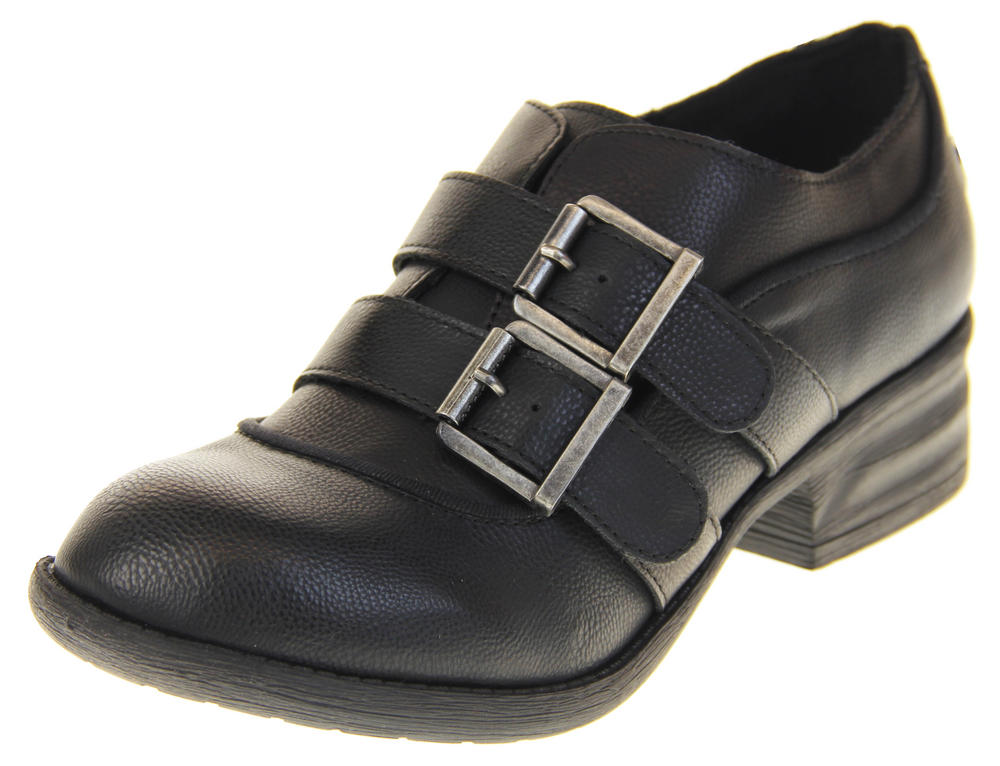 Ladies Black Rocket Dog Flat Synthetic Leather Twin Strap Shoes