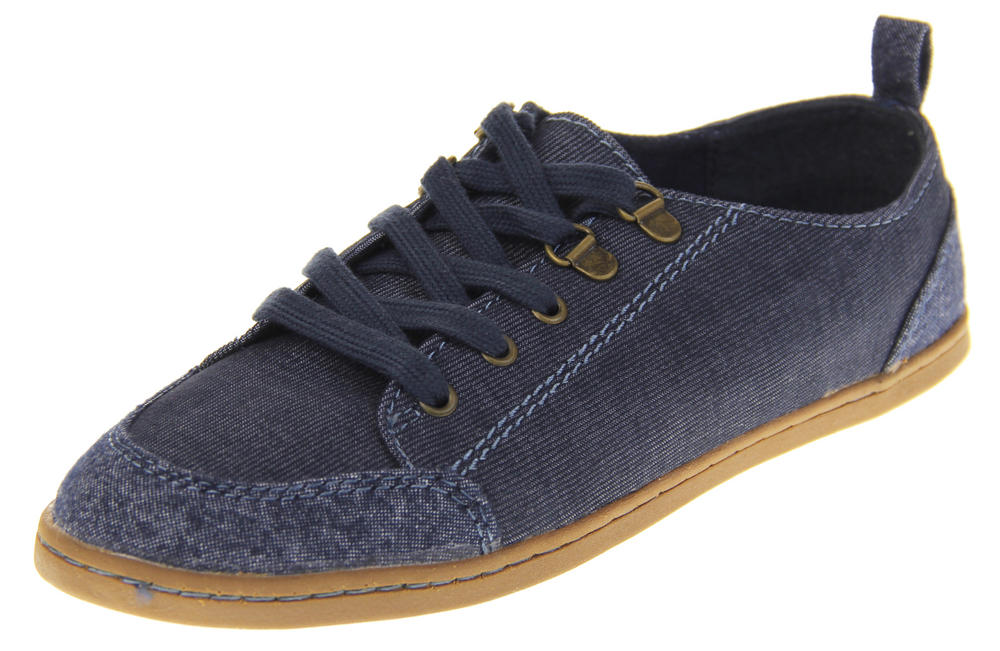 Womens Rocket Dog Blue Denim Lace Up Low Top Trainer Shoes