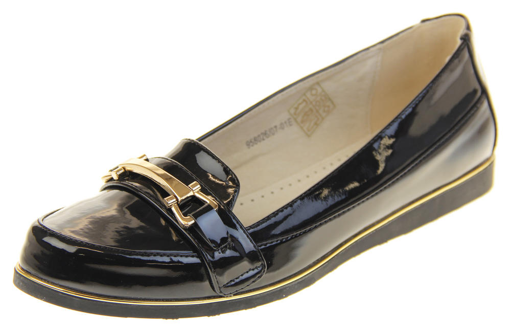 Womens Ladies Betsy Synthetic Patent Leather Flat Slip On Office Work School Loafers