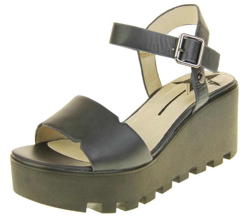 Womens Ladies Betsy Leather Summer Platform Shoes Wedge Heel Sandals