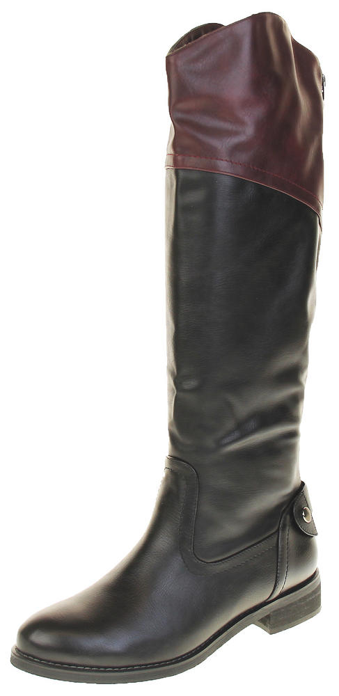 Womens Ladies Betsy Faux Leather Warm Fleece Lined Knee High Boots
