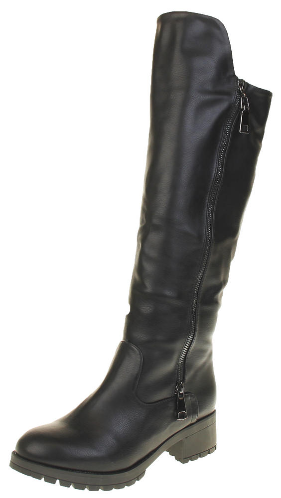 Womens Ladies Black Betsy Faux Leather Faux Fur Lined Knee High Biker Boots