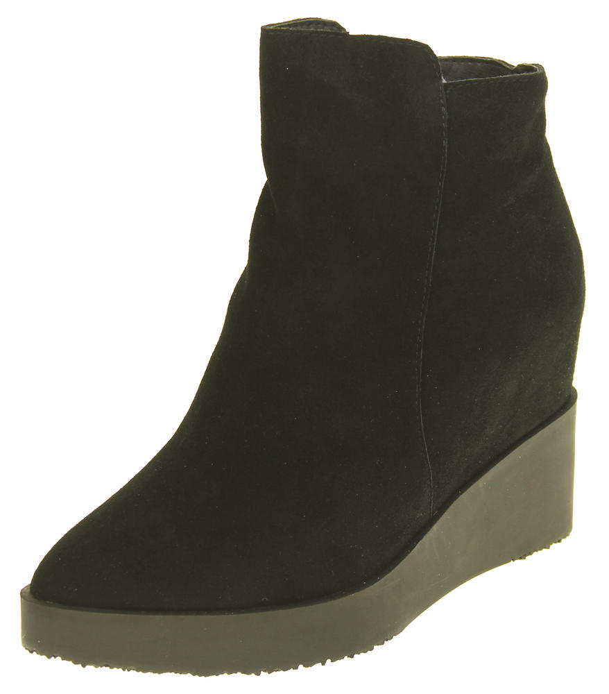 Womens Betsy Suede Leather Hidden Wedge Ankle Boots