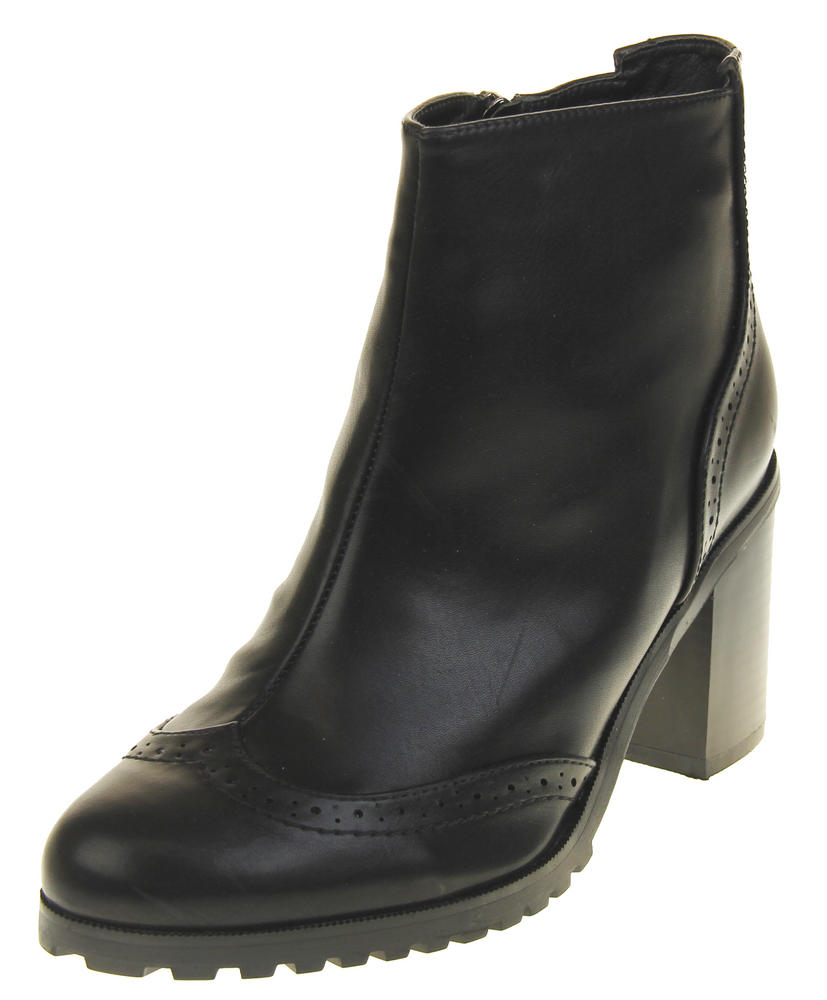 Womens Ladies Betsy Synthetic Leather Brogue Style Black Ankle Boots
