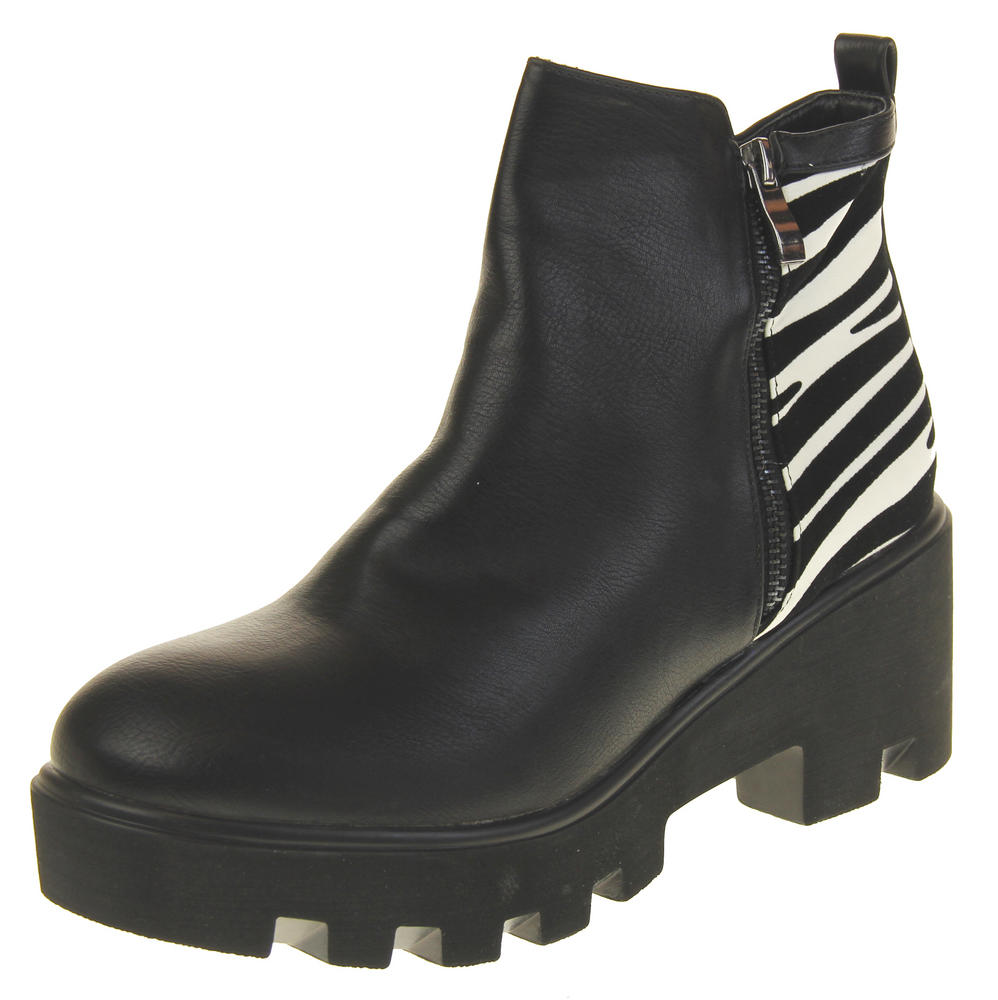 Womens Ladies Betsy Synthteic Leather Zebra Design Fleece Lined Ankle Boots