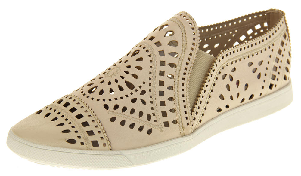 Womens Ladies Keddo Leather Flat Slip On Espadrille Pumps