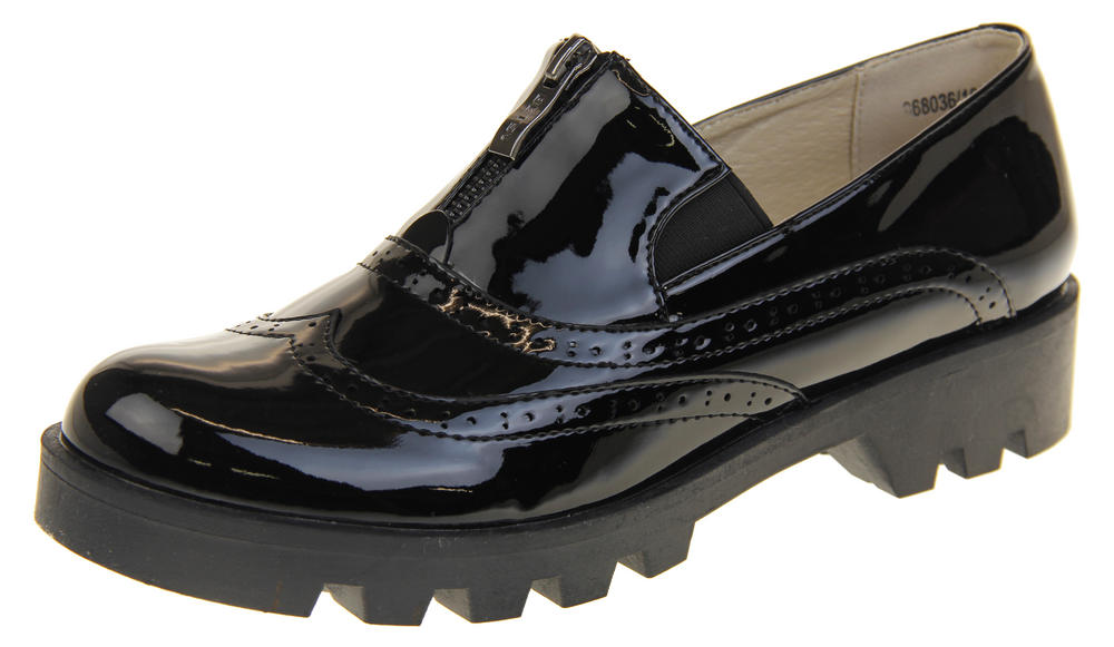 Womens Ladies Betsy Slip On Zip Design Flat Loafer Brogues