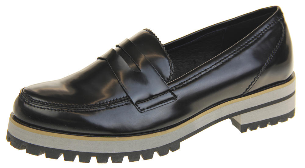 Womens Ladies Leather Flat Casual Chunky Sole Loafers