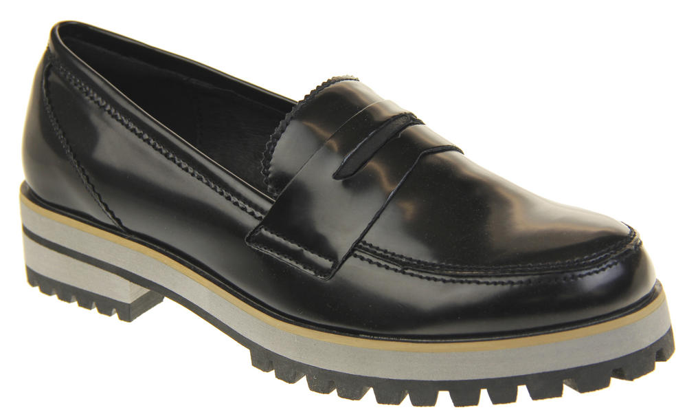 0ca3cf71a3e Womens Ladies Leather Flat Casual Chunky Sole Loafers Thumbnail 12. Keddo.  21549068